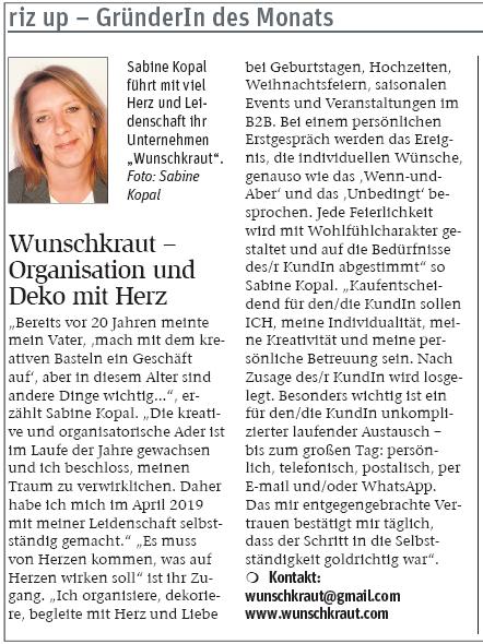 NÖN Print 052019 Gründerin des Monat im Bezirk Mödling